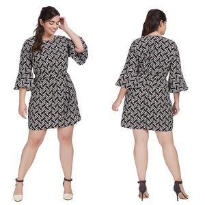 Eloquii Graphic Jam Flare Sleeve Dress